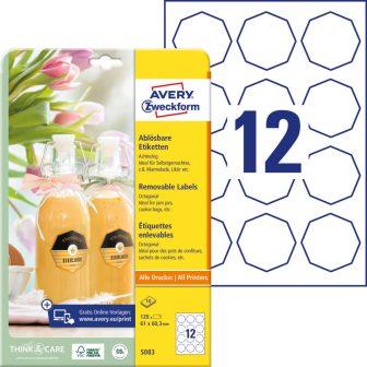 Avery Zweckform No. 5083 fehér színű 61 x 60,3 mm méretű, univerzálisan nyomtatható, öntapadós etikett címke, visszaszedhető ragasztóval A4-es íven - kiszerelés: 120 címke / 10 lap
