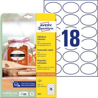 Avery Zweckform No. 5087 fehér színű 63,5 x 42,3 mm méretű, ovális alakú, univerzálisan nyomtatható, öntapadós etikett címke, visszaszedhető ragasztóval A4-es íven - kiszerelés: 180 címke / 10 ív
