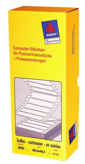 Avery Zweckform No. 5103 leporellós 88,9 x 48,4 mm méretű, fehér színű, 1 pályás öntapadó címke mátrix nyomtatókhoz - 3000 címke / doboz (Avery 5103)