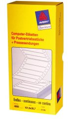Avery Zweckform No. 5106 leporellós 101,6 x 35,7 mm méretű, fehér színű, 1 pályás öntapadó címke mátrix nyomtatókhoz - 4000 címke / doboz (Avery 5106)