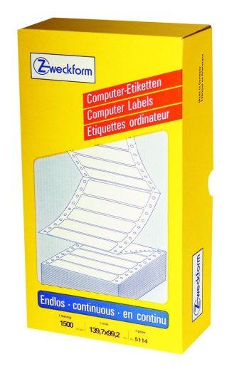 Avery Zweckform No. 5114 leporellós 139,7 x 99,2 mm méretű, fehér színű, 1 pályás öntapadó címke mátrix nyomtatókhoz - 1500 címke / doboz (Avery 5114)