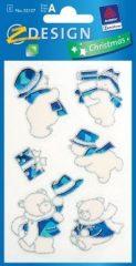 Avery Zweckform Z-Design No. 52127 karácsonyi átlátszó csillogó matrica - kék és ezüst hóemberkék, macik motívumokkal - kiszerelés: 1 ív / csomag (Avery Z-Design 52127)