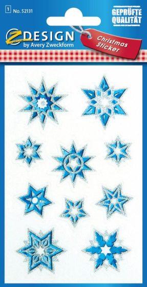 Avery Zweckform Z-Design No. 52131 karácsonyi átlátszó csillogó matrica - kék és arany csillagok motívumokkal - kiszerelés: 1 ív / csomag (Avery Z-Design 52131)