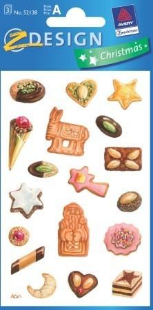 Avery Zweckform Z-Design No. 52138 karácsonyi papír matrica - karácsonyi sütemények és édességek motívumokkal - kiszerelés: 3 ív / csomag (Avery Z-Design 52138)