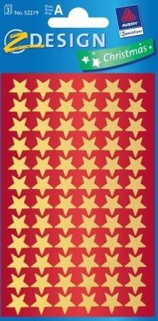 Avery Zweckform Z-Design No. 52219 karácsonyi fényes fólia matrica - arany színű csillagok mintával - kiszerelés: 3 ív / csomag (Avery Z-Design 52219)