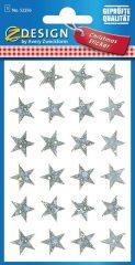 Avery Zweckform Z-Design No. 52256 karácsonyi fólia matrica - ezüst színű csillagok mintával - kiszerelés: 1 ív / csomag (Avery Z-Design 52256)