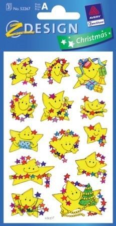 Avery Zweckform Z-Design No. 52267 karácsonyi papír matrica - vidám csillagok mintával - kiszerelés: 3 ív / csomag (Avery Z-Design 52267)