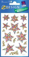 Avery Zweckform Z-Design No. 52272 karácsonyi csillogó papír matrica - színes csillagok mintával - kiszerelés: 2 ív / csomag (Avery Z-Design 52272)