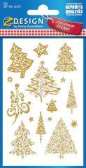 Avery Zweckform Z-Design No. 52273 karácsonyi aranyozott papír matrica - különféle fenyőfák mintával - kiszerelés: 2 ív / csomag (Avery Z-Design 52273)