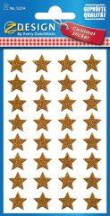 Avery Zweckform Z-Design No. 52274 karácsonyi csillogó matrica - arany színű csillagok mintával - kiszerelés: 1 ív / csomag (Avery Z-Design 52274)