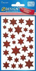 Avery Zweckform Z-Design No. 52277 karácsonyi csillogó matrica - piros színű csillagok mintával - kiszerelés: 1 ív / csomag (Avery Z-Design 52277)