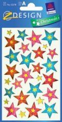 Avery Zweckform Z-Design No. 52278 karácsonyi fólia matrica - színes csillagok mintával - kiszerelés: 1 ív / csomag (Avery Z-Design 52278)