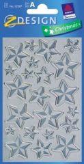 Avery Zweckform Z-Design No. 52287 karácsonyi fémhatású matrica - ezüst színű csillagok mintával - kiszerelés: 1 ív / csomag (Avery Z-Design 52287)