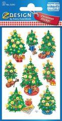 Avery Zweckform Z-Design No. 52310 karácsonyi csillogó papír matrica - feldíszített karácsonyfák mintával - kiszerelés: 2 ív / csomag (Avery Z-Design 52310)