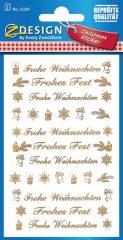 """Avery Zweckform Z-Design No. 52391 karácsonyi átlátszó matrica - """"Frohes Fest, Frohe Weihnachten"""" felirattal - kiszerelés: 2 ív / csomag (Avery Z-Design 52391)"""
