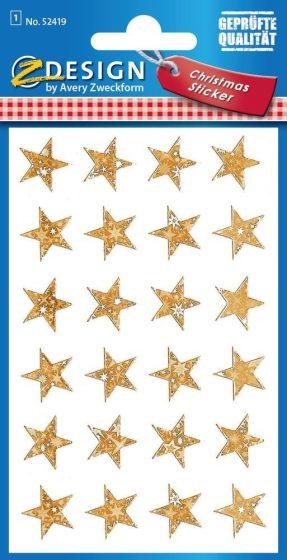Avery Zweckform Z-Design No. 52419 karácsonyi fólia matrica - arany színű csillagok mintával - kiszerelés: 1 ív / csomag (Avery Z-Design 52419)
