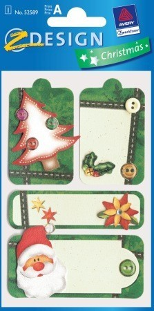 Avery Zweckform Z-Design No. 52589 karácsonyi kollázs matrica - télapó és karácsonyfa motívumokkal - kiszerelés: 1 ív / csomag (Avery Z-Design 52589)
