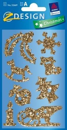 Avery Zweckform Z-Design No. 52669 karácsonyi csillogó matrica - karácsonyi díszek mintával - kiszerelés: 1 ív / csomag (Avery Z-Design 52669)
