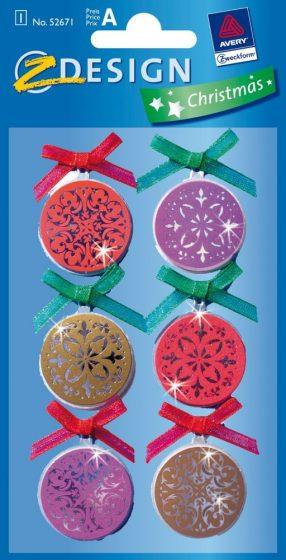Avery Zweckform Z-Design No. 52670 karácsonyi csillogó kollázs matrica - karácsonyi díszek mintával - kiszerelés: 1 ív / csomag (Avery Z-Design 52670)