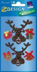 Avery Zweckform Z-Design No. 52679 karácsonyi plüss matrica - rénszarvas és ajándékok motívumokkal - kiszerelés: 1 ív / csomag (Avery Z-Design 52679)
