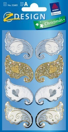 Avery Zweckform Z-Design No. 52683 karácsonyi kollázs matrica - angyalszárnyak motívumokkal - kiszerelés: 1 ív / csomag (Avery Z-Design 52683)