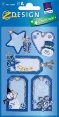 Avery Zweckform Z-Design No. 52686 karácsonyi csillogó kollázs matrica - hóember és jégcsillag motívumokkal - kiszerelés: 1 ív / csomag (Avery Z-Design 52686)