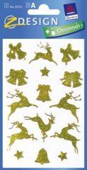 Avery Zweckform Z-Design No. 52721 karácsonyi fólia matrica - arany színű szarvasok, csillagok mintával - kiszerelés: 1 ív / csomag (Avery Z-Design 52721)