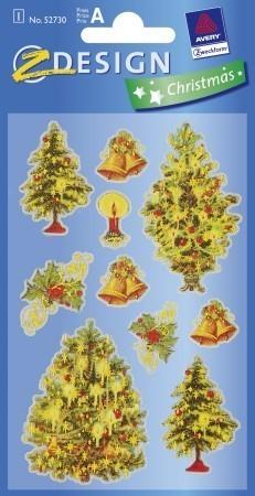 Avery Zweckform Z-Design No. 52730 karácsonyi átlátszó csillogó matrica - feldíszített karácsonyfák mintával - kiszerelés: 1 ív / csomag (Avery Z-Design 52730)