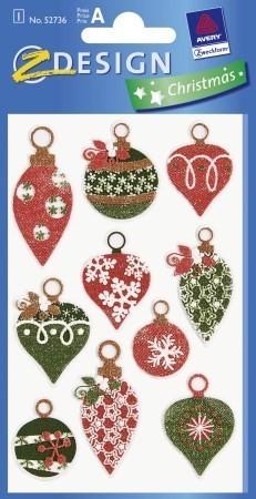 Avery Zweckform Z-Design No. 52736 karácsonyi szövet hatású matrica - karácsonyfa díszek motívumokkal - kiszerelés: 1 ív / csomag (Avery Z-Design 52736)