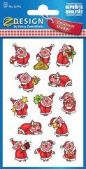 Avery Zweckform Z-Design No. 52742 karácsonyi papír matrica - mikulás ruhába öltöztetett malackák mintával - kiszerelés: 3 ív / csomag (Avery Z-Design 52742)