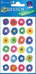 Avery Zweckform Z-Design No. 52744 karácsonyi papír matrica - színes csillagok mintával - kiszerelés: 3 ív / csomag (Avery Z-Design 52744)