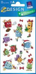 Avery Zweckform Z-Design No. 52745 karácsonyi csillogó papír matrica - színes ajándékcsomagok mintával - kiszerelés: 2 ív / csomag (Avery Z-Design 52745)