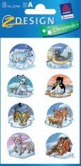 Avery Zweckform Z-Design No. 52746 karácsonyi csillogó papír matrica - állatkölykök télen motívumokkal - kiszerelés: 2 ív / csomag (Avery Z-Design 52746)