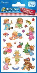 Avery Zweckform Z-Design No. 52758 karácsonyi aranyozott papír matrica - dombornyomással, angyalkák mintával - kiszerelés: 1 ív / csomag (Avery Z-Design 52758)