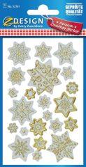 Avery Zweckform Z-Design No. 52761 karácsonyi aranyozott papír matrica - dombornyomással, csillagok mintával - kiszerelés: 1 ív / csomag (Avery Z-Design 52761)