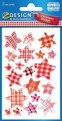 Avery Zweckform Z-Design No. 52762 karácsonyi aranyozott 3D hatású matrica - piros kockás csillagok motívumokkal - kiszerelés: 1 ív / csomag (Avery Z-Design 52762)
