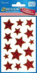 Avery Zweckform Z-Design No. 52765 karácsonyi átlátszó csillogó matrica - arany színű csillagok motívumokkal - kiszerelés: 1 ív / csomag (Avery Z-Design 52765)