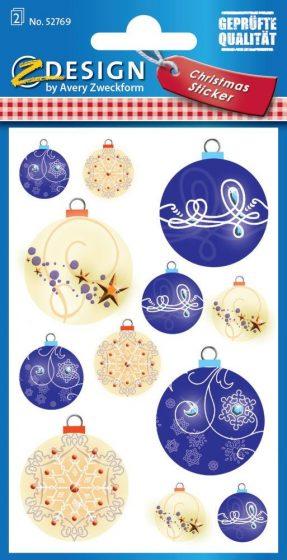 Avery Zweckform Z-Design No. 52769 öntapadó papír matrica - karácsonyi díszek motívumokkal - kiszerelés: 2 ív / csomag (Avery Z-Design 52769)