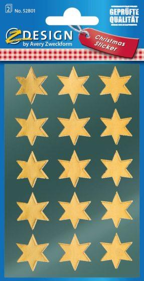 Avery Zweckform Z-Design No. 52801 magasfényű, öntapadó fólia matrica - arany színű csillagokkal - kiszerelés: 2 ív / csomag (Avery Z-Design 52801)