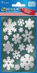 Avery Zweckform Z-Design No. 52813 magasfényű, öntapadó fólia matrica - ezüst színű hópehellyel - kiszerelés: 2 ív / csomag (Avery Z-Design 52813)