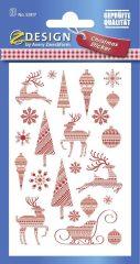Avery Zweckform Z-Design No. 52817 öntapadó papír matrica - piros színű karácsonyi figurák motívumokkal - kiszerelés: 2 ív / csomag (Avery Z-Design 52817)
