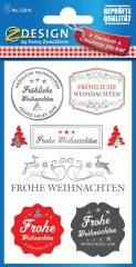 """Avery Zweckform Z-Design No. 52819 ezüstözött, dombornyomott, öntapadó papír matrica - """"Frohe Weinnachten"""" felirattal - kiszerelés: 1 ív / csomag (Avery Z-Design 52819)"""