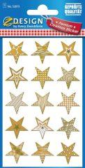 Avery Zweckform Z-Design No. 52873 öntapadó karácsonyi fólia matrica - arany színű csillagok motívumokkal - kiszerelés: 1 ív / csomag (Avery Z-Design 52873)