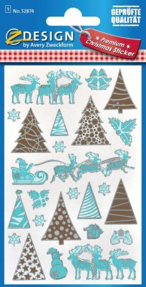 Avery Zweckform Z-Design No. 52874 öntapadó karácsonyi fólia matrica - rénszarvas, szán, fenyő motívumokkal - kiszerelés: 1 ív / csomag (Avery Z-Design 52874)