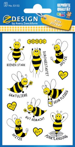 Avery Zweckform Z-Design No. 53132 öntapadó papír matrica - méhecskés motivációs képekkel - kiszerelés: 2 ív / csomag (Avery Z-Design 53132)