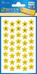 Avery Zweckform Z-Design No. 53191 öntapadó papír matrica - nevető csillagok képekkel - kiszerelés: 3 ív / csomag (Avery Z-Design 53191)
