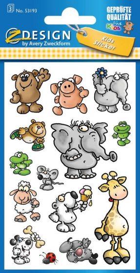 Avery Zweckform Z-Design No. 53193 öntapadó papír matrica - mókás állatok képekkel - kiszerelés: 3 ív / csomag (Avery Z-Design 53193)