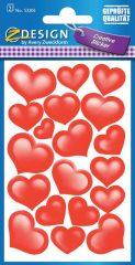 Avery Zweckform Z-Design No. 53205 csillogó, öntapadó papír matrica - piros szívek mintával - kiszerelés: 2 ív / csomag (Avery Z-Design 53205)