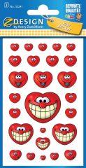 Avery Zweckform Z-Design No. 53241 öntapadó papír matrica - nevető piros szívecskék képekkel - kiszerelés: 3 ív / csomag (Avery Z-Design 53241)