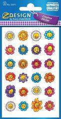 Avery Zweckform Z-Design No. 53371 öntapadó papír matrica - nevető virágok mintával - kiszerelés: 3 ív / csomag (Avery Z-Design 53371)